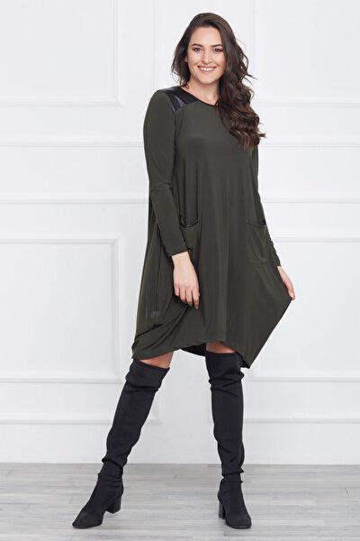 Kadın Yeşil Deri Detaylı Asimetrik Kesim Elbise 17LB9023