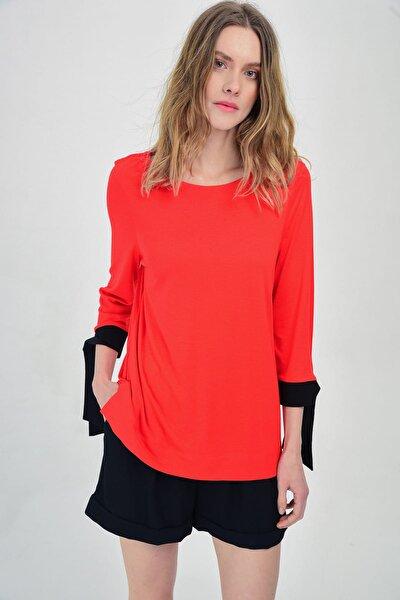 Kadın Kırmızı Düz Uzun Kollu Ve Kolları Bağlama Detaylı Bluz  Hn1424