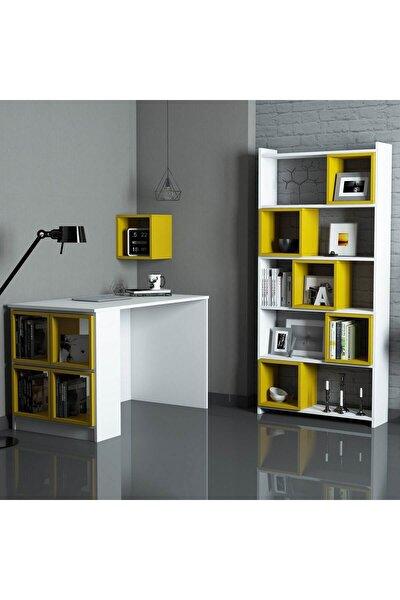 Box Çalışma Masası Ve Kitaplık Takımı Beyaz Sarı