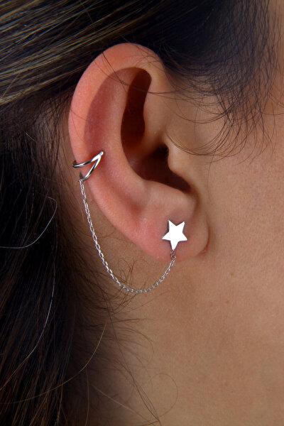 Kadın Yıldız Motifli Gümüş Zincirli Kıkırdak Küpe K033701