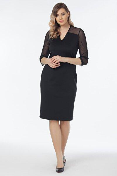 Kadın Siyah Tül Detaylı Elbise 19LB9152