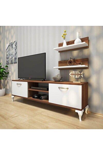 A4 Duvar Raflı Tv Sehpası - Kitaplıklı Tv Ünitesi Modern Ayaklı Tasarım Ceviz Beyaz