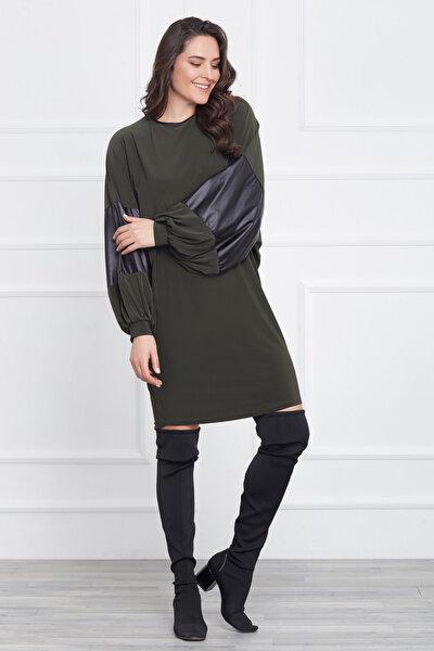 Kadın Yeşil Kolu Deri Detaylı Elbise 17LB9006
