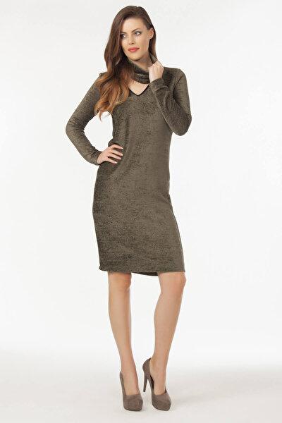Kadın Haki Yaka Detaylı Triko Elbise 19L6527