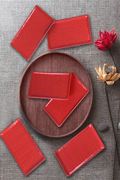 Mat Kırmızı Doğaltaş Kayık Tabak 15 Cm 6 Adet