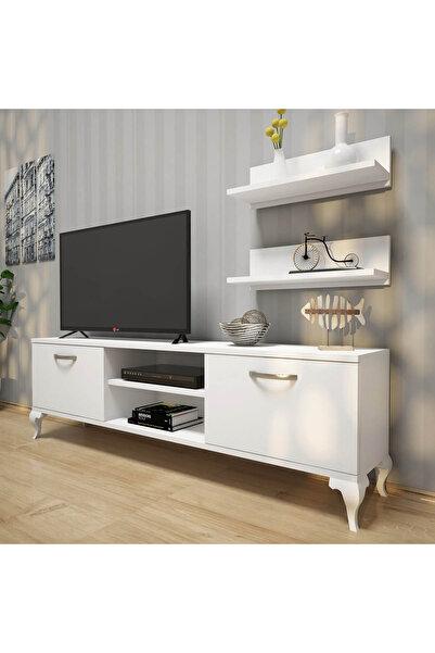A4 Duvar Raflı Tv Sehpası - Kitaplıklı Tv Ünitesi Modern Ayaklı Tasarım Beyaz