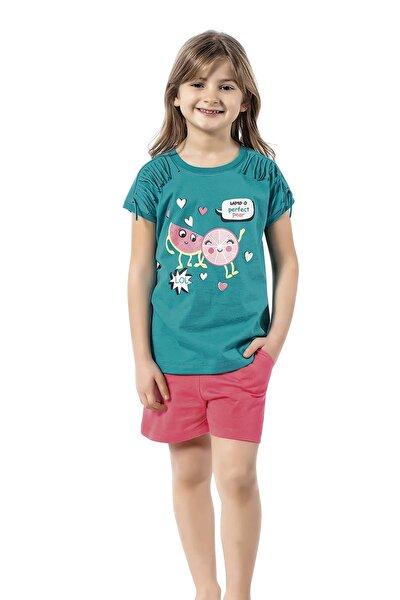 Kız Çocuk Yeşil Şortlu Takım