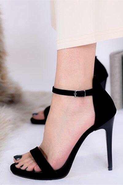 Kadın Siyah Sivri Topuk Süet Abiye Ayakkabı