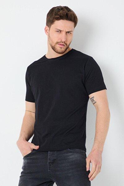 Erkek Slim Fit Bisiklet Yaka Basic Siyah T-Shirt