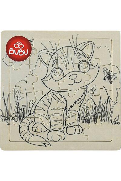 Ahşap Puzzle Boyanabilir 18x18 cm Kedi
