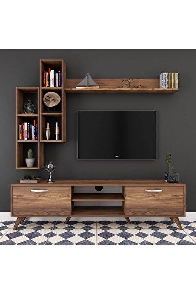 A9 Duvar Raflı Kitaplıklı Tv Ünitesi Duvara Monte Dolaplı Modern Ayaklı Tv Sehpası Ceviz M16