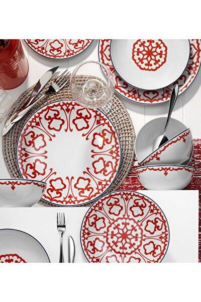 596617 Desen 24 Parça Yemek Seti Kırmızı