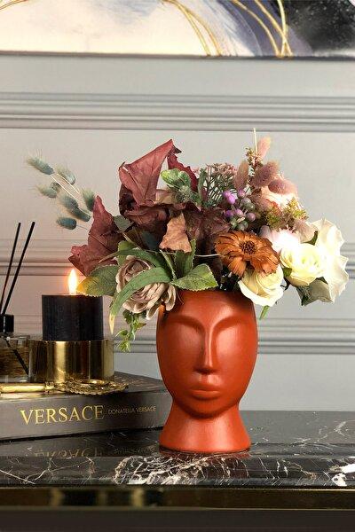 Kiremit Rengi Fabulous Face Mat Serisi Seramik El Yapımı Vazo