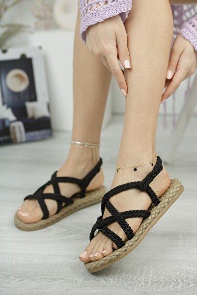 Kadın Siyah Sandalet Mghasır01