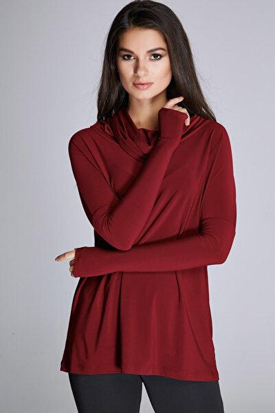 Kadın Bordo Degaje Yaka Bluz 14L4072