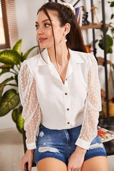 Kadın Beyaz Kolları Tül Gömlek ARM-20K001068