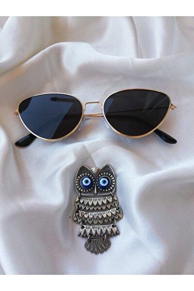 Kadın Siyah Lens Gold Çerçeve Cat Eye Güneş Gözlüğü