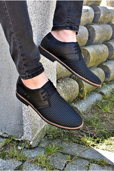 Erkek Ortopedik Tabanlı Günlük Ayakkabı Baskı Modelli Siyah