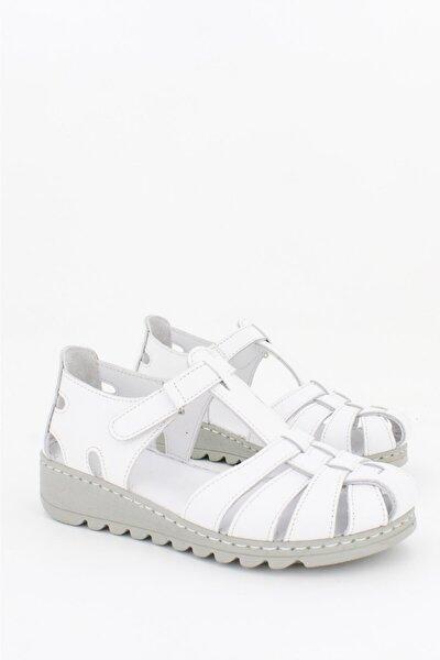 Hakiki Deri Beyaz Kadın Deri Sandalet CRZ-0546