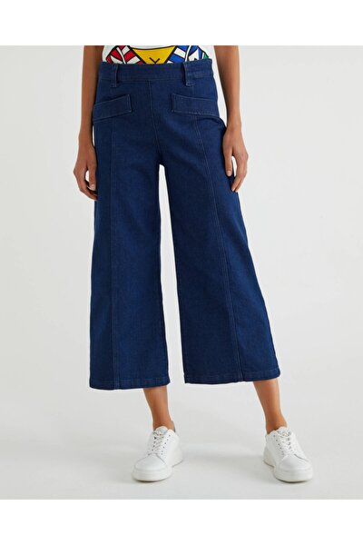 Benetton Cep Detaylı Bol Paça Crop Pantolon