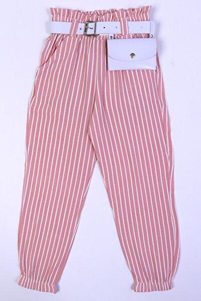 Kız Çocuk Pudra Bel Çantalı 6-15 Yaş Çizgili Pantolon 5050