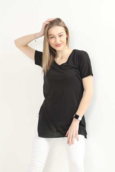 T-shirt Siyah V Yaka Kısa Kol