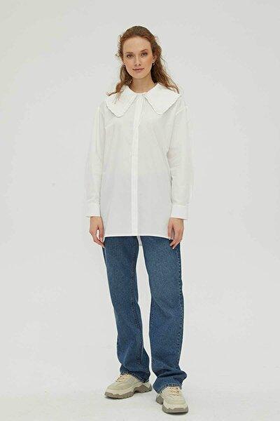 Kadın Beyaz Fırfır Yakalı Poplin Gömlek