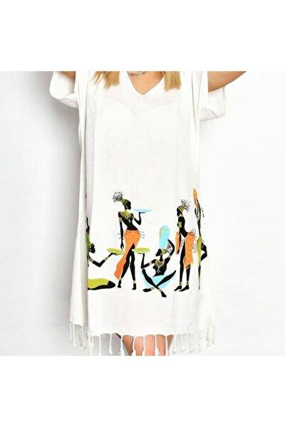 Plaj Elbisesi Yarım Kollu Bambu Peştemal Afrikalı Kızlar Desen Xl