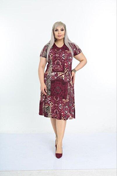 Kadın Büyük Beden Bordo Etnik Desenli Günlük Viskon Elbise