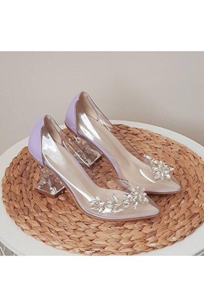 Kadın Mor Şeffaf Taşlı Topuklu Ayakkabı