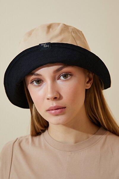 Kadın Camel Siyah Çift Taraflı Bucket Şapka