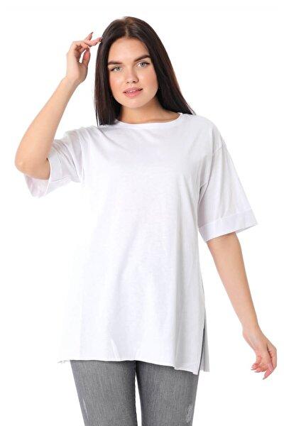 Duble Kol Bisiklet Yaka Salaş T-shirt - Beyaz