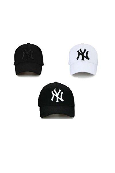 Unisex 3'lü Set Şapka Siyah-Beyaz