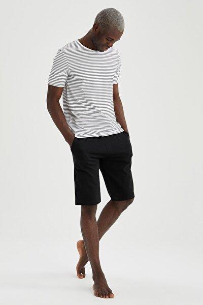 Erkek Siyah Regular Fit Çizgili Pijama Takımı
