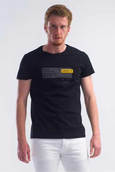 Erkek Siyah Looking Baskılı Bisilet Yaka Tshirt