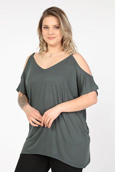 Kadın Yeşil Omuzları Açık Askılı Büyük Beden Bluz