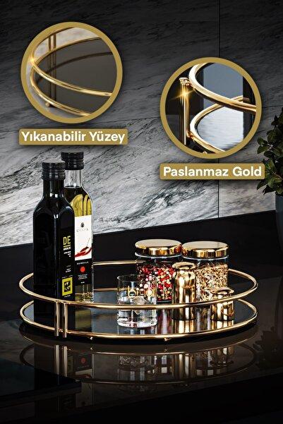 Servis Sunum Ikramlık Gold Büyük Lüks Organizer Sofra Mutfak Düzenleyici Pasta Standı