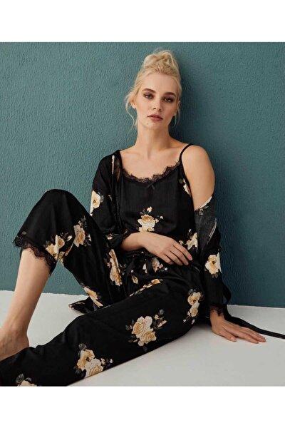 Kadın Siyah 3'lü Pijama Takımı 80118-3