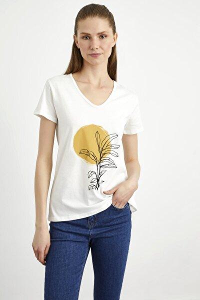 Kadın Kemik Baskılı V Yaka  Tshirt