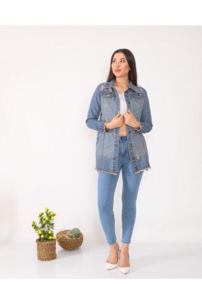 Kadın Mavi Kot Ceket Uzun Yırtık Detaylı