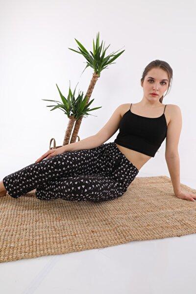 Kadın Siyah Kalpli Pijama Altı