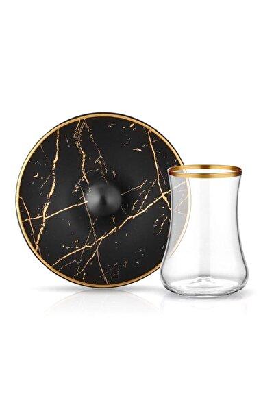Koleksiyon Dervish Mermer Siyah Mat Altın 6 Lı Çay Seti