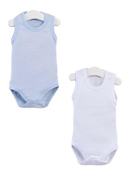 Erkek Bebek Beyaz Mavi Kolsuz Çıtçıtlı Body 0-36 Ay