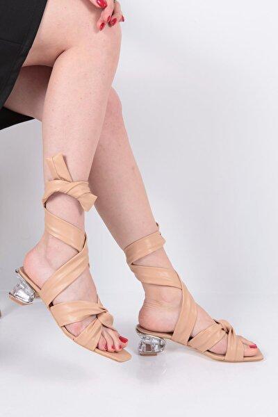 Kadın Bej Taşlı Topuklu Sandalet 1140