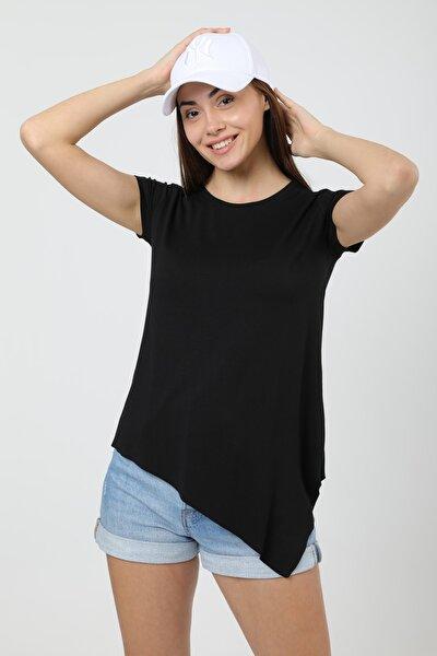 Kadın Siyah Asimetrik Kesim Uzun Basic T-Shirt