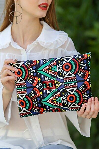 Kadın Renkli Vintage Tribal Desenli Vegan Clutch Çanta C30090400Cf97322