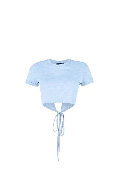 Kadın Mavi Arkası Açık Bağlama Detaylı T-Shirt
