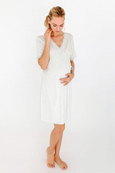 Kadın Kar Melanj Mom Dantel Detaylı Kruvaze Penye Modal Gecelik