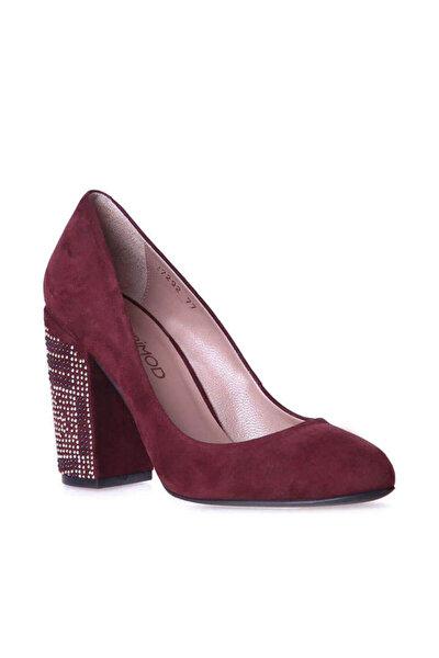 Hakiki Deri Bordo Kadın Topuklu Ayakkabı