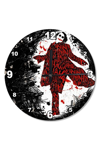 30 Cm Çap Kırmızı Joker Ahşap Duvar Saati